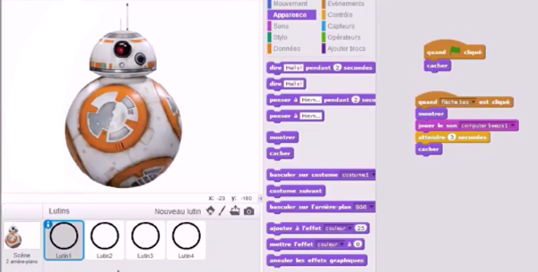 La programmation dans Scratch du Docteur BB8