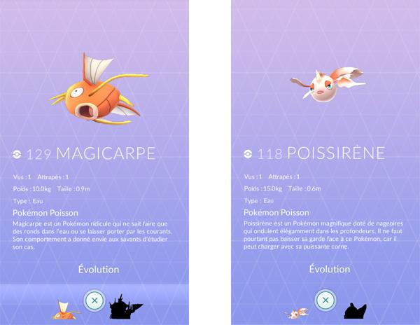 Magicarpe et Poissirène dans Pokemon Go