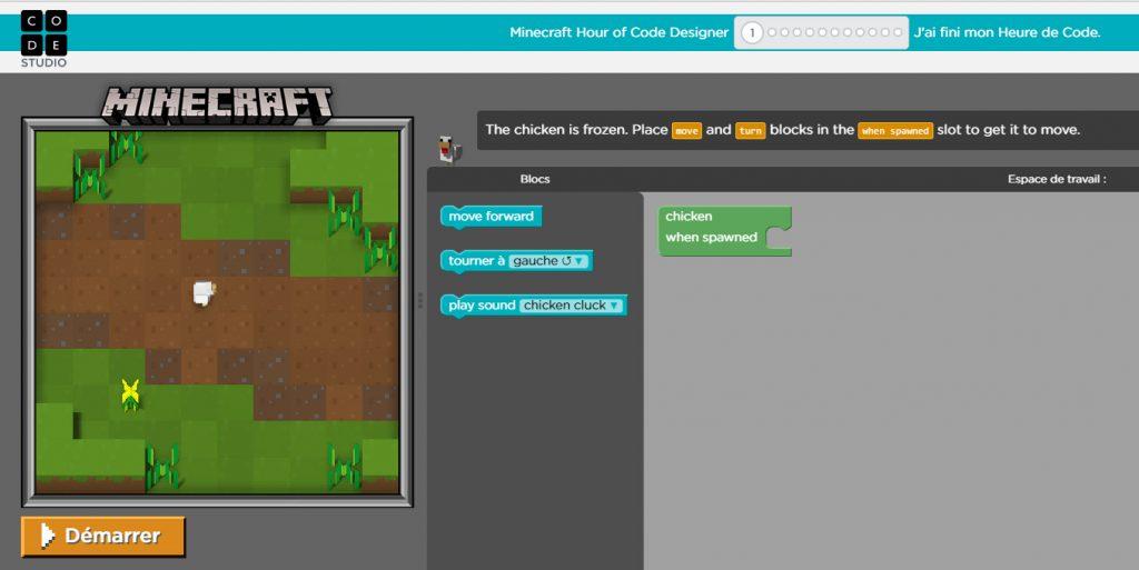 Les différentes parties du jeu Minecraft Designer